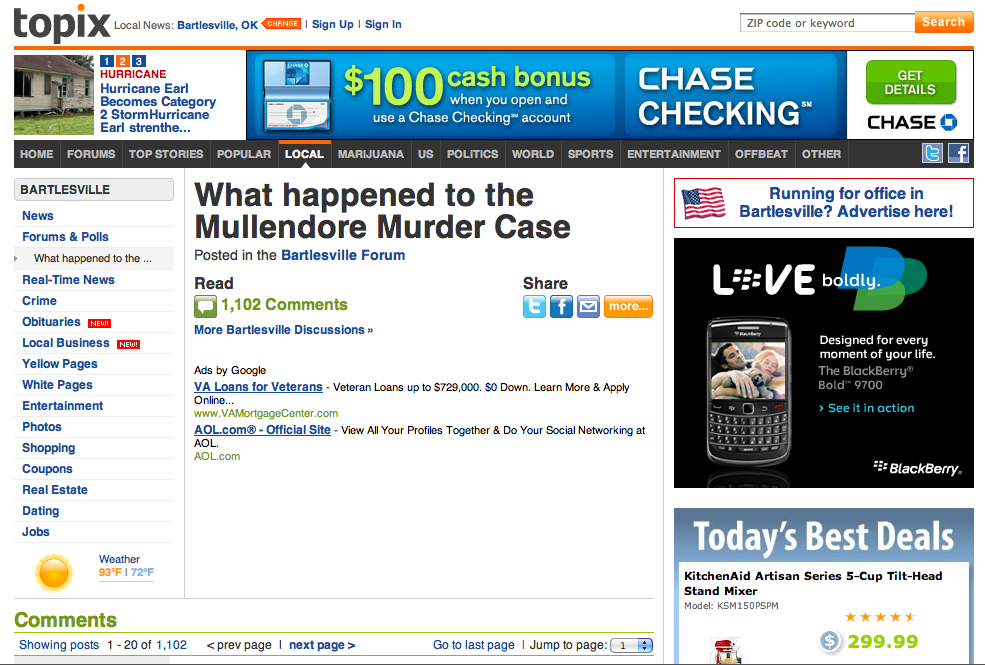 What happened to Mullendore Murder Case